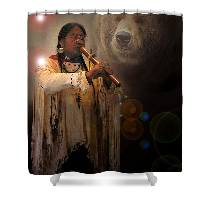Native American Music Shower Curtain featuring the photograph Cheyenne Flute Musician by Nancy Griswold