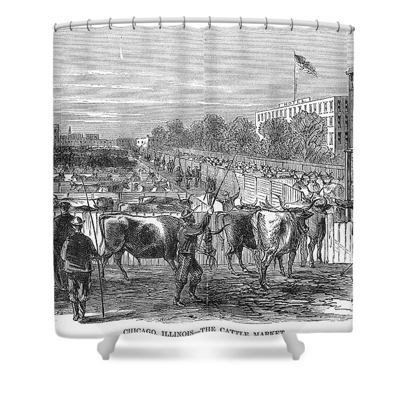 1868 Shower Curtain featuring the photograph Chicago: Cattle Market by Granger
