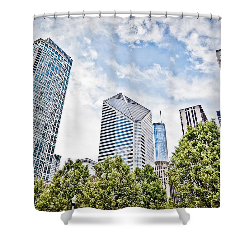 Chicago Shower Curtain featuring the photograph Chicago Skyline At Millenium Park by Paul Velgos