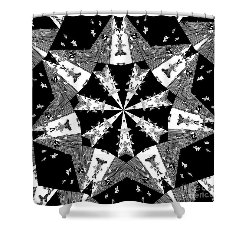 Butterflies Shower Curtain featuring the photograph Children Animals Kaleidoscope Black And White by Donna Brown