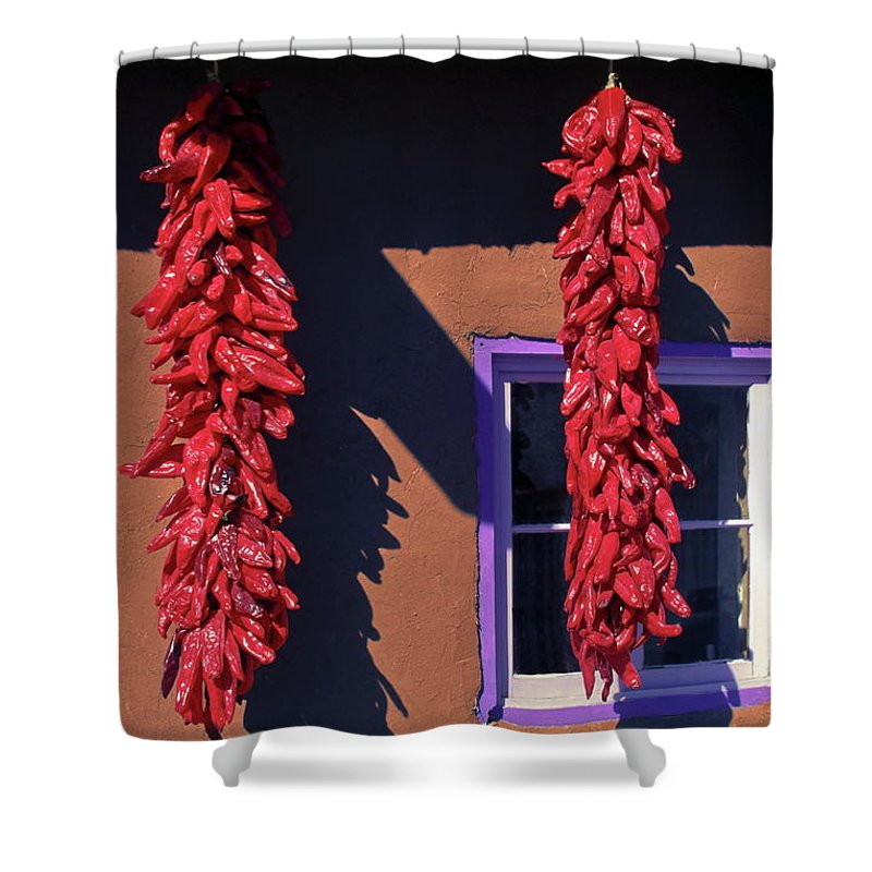 Ristras Hanging Shower Curtain featuring the photograph Chili Peppers by Sally Weigand