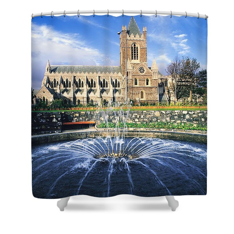 Blue Sky Shower Curtain featuring the photograph Christ Church Cathedral, Synod Hall by The Irish Image Collection