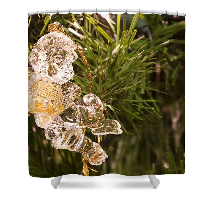 Christmas Shower Curtain featuring the photograph Christmas Crystal Angel 1 B by John Brueske