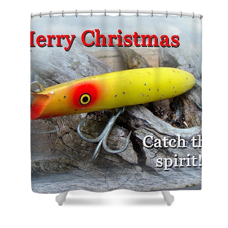 Christmas Shower Curtain featuring the photograph Christmas Greeting Card - Gibbs Darter Vintage Fishing Lure by Mother Nature