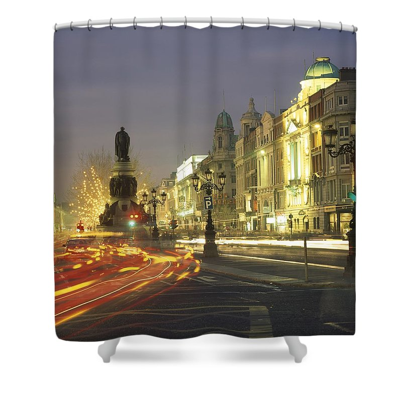 County Dublin Shower Curtain featuring the photograph Christmas Traffic On Oconnell Street by The Irish Image Collection
