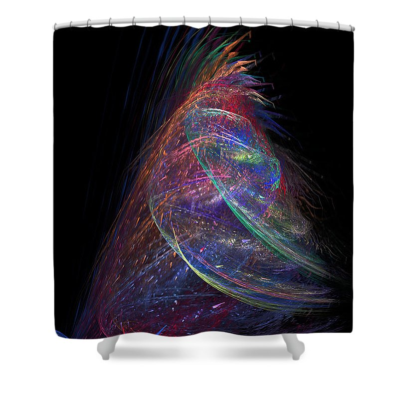Abstract Shower Curtain featuring the digital art Christmas Tree 37 by Russell Kightley