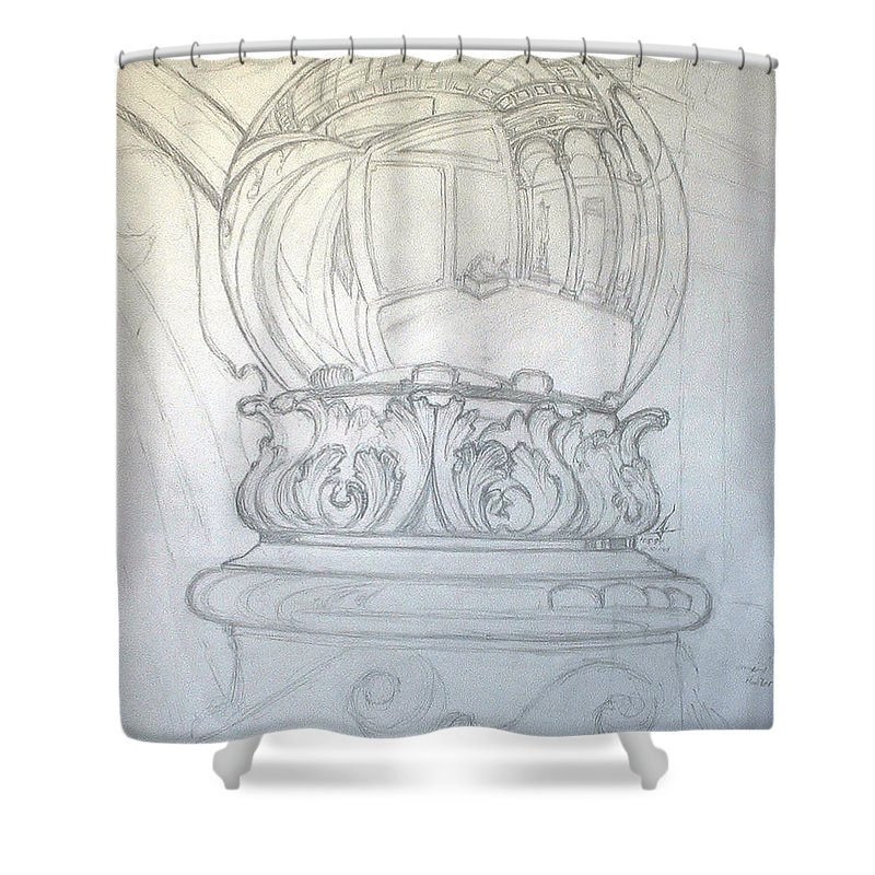 Ball Shower Curtain featuring the drawing Chrome Ball at M.I.C.A. by Robert Fenwick May Jr