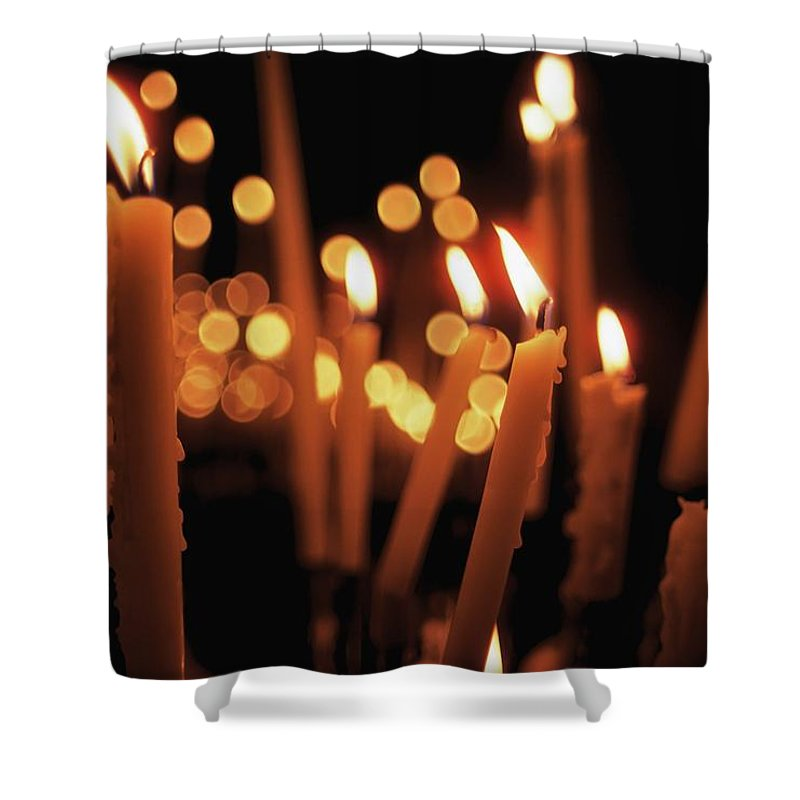 Candlelight Shower Curtain featuring the photograph Church Candles by The Irish Image Collection