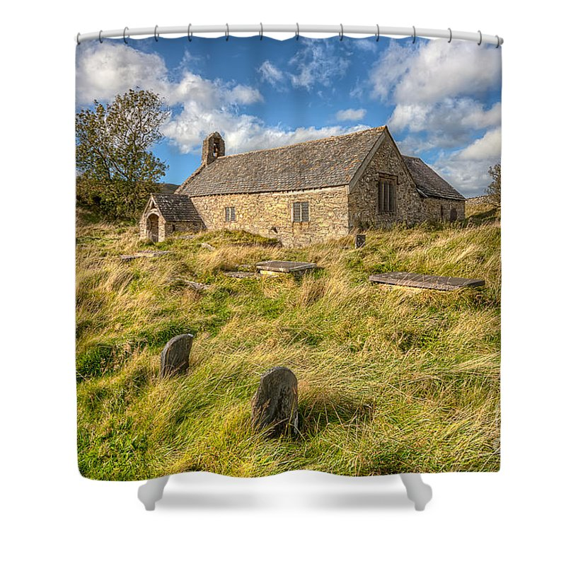 Architecture Shower Curtain featuring the photograph Church Of Celynnin by Adrian Evans