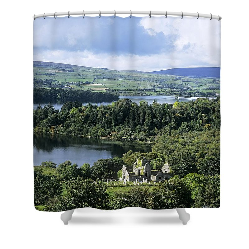 Ballindoon Shower Curtain featuring the photograph Church On A Landscape, Ballindoon by The Irish Image Collection
