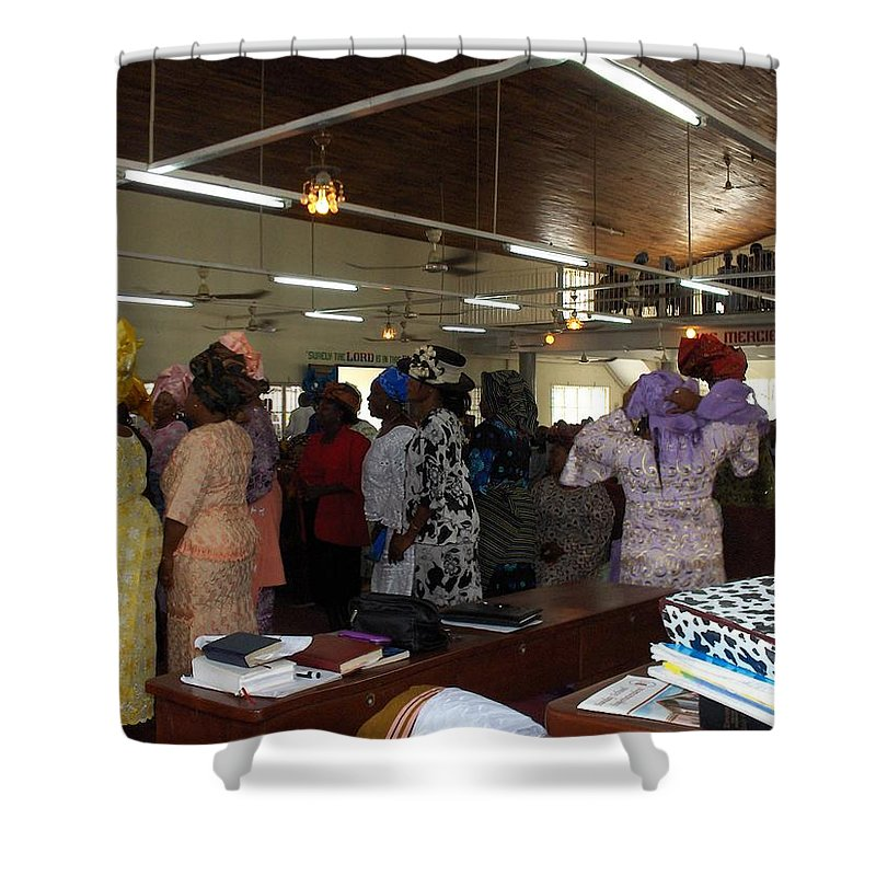 Church Shower Curtain featuring the photograph Church Service In Nigeria by Amy Hosp