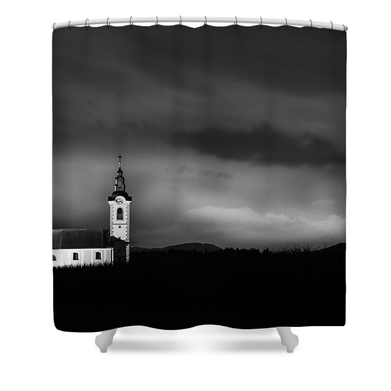Dusk Shower Curtain featuring the photograph Church Shining Bright by Ian Middleton