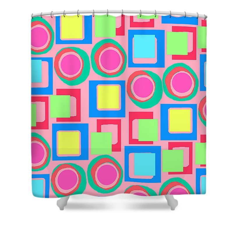 Louisa Shower Curtain featuring the digital art Circles And Squares by Louisa Knight