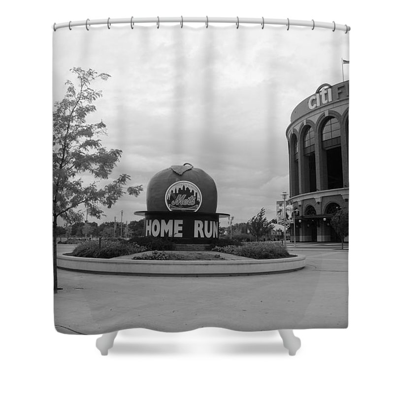 Shea Stadium Shower Curtain featuring the photograph Citi Field In Black And White by Rob Hans