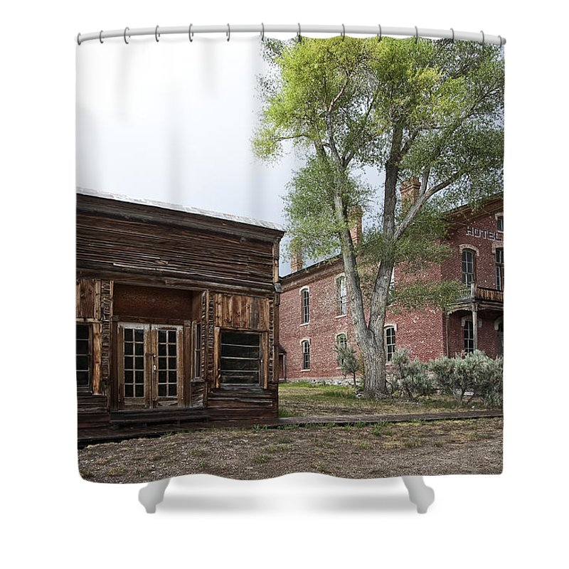 Bannack Shower Curtain featuring the photograph City Drug Store And Hotel Meade - Bannack Montana Ghost Town by Daniel Hagerman