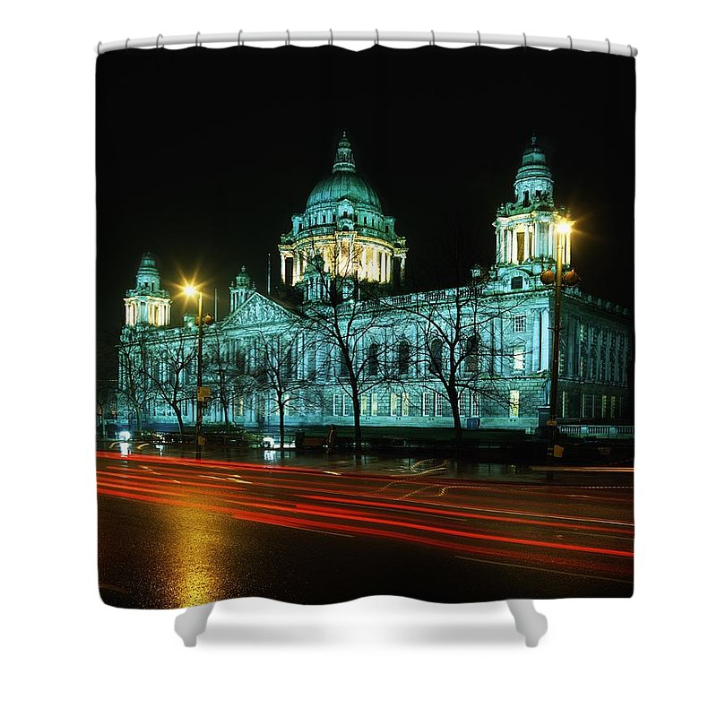 Architecture Shower Curtain featuring the photograph City Hall, Belfast, Ireland by The Irish Image Collection