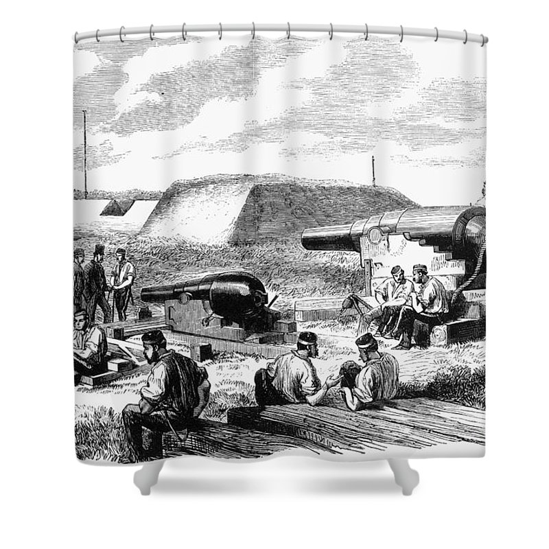 19th Century Shower Curtain featuring the photograph Civil War Battery Scene by Granger