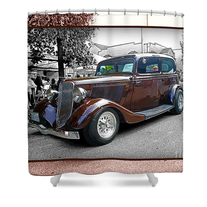 Old Cars Shower Curtain featuring the photograph Classy Brown Ford by Randy Harris