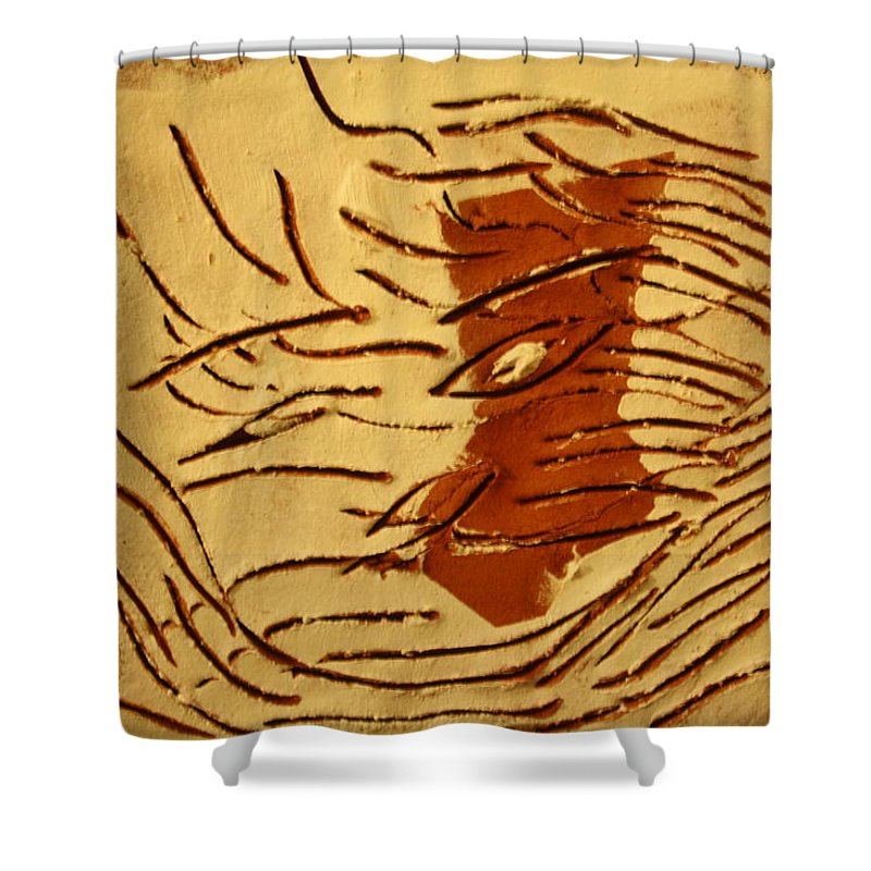 Jesus Shower Curtain featuring the ceramic art Clear - Tile by Gloria Ssali