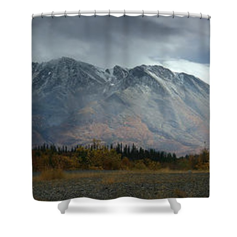 Light Shower Curtain featuring the photograph Clearing Storm Over North Canol Road by Robert Postma
