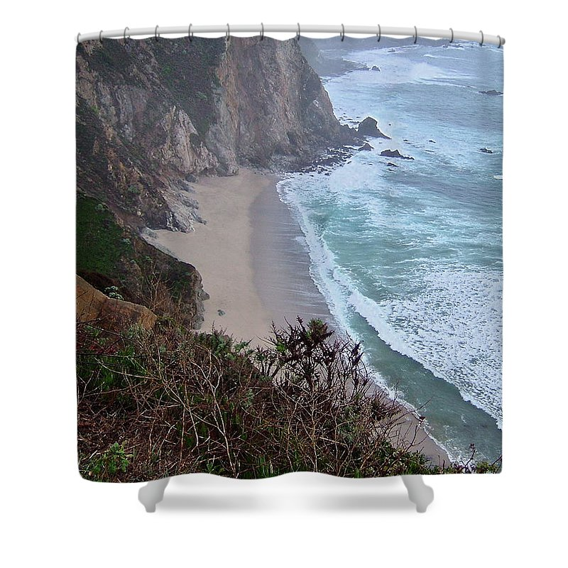 Spectacular Shower Curtain featuring the photograph Cliffs And Surf On The California Coast by Susan Wyman