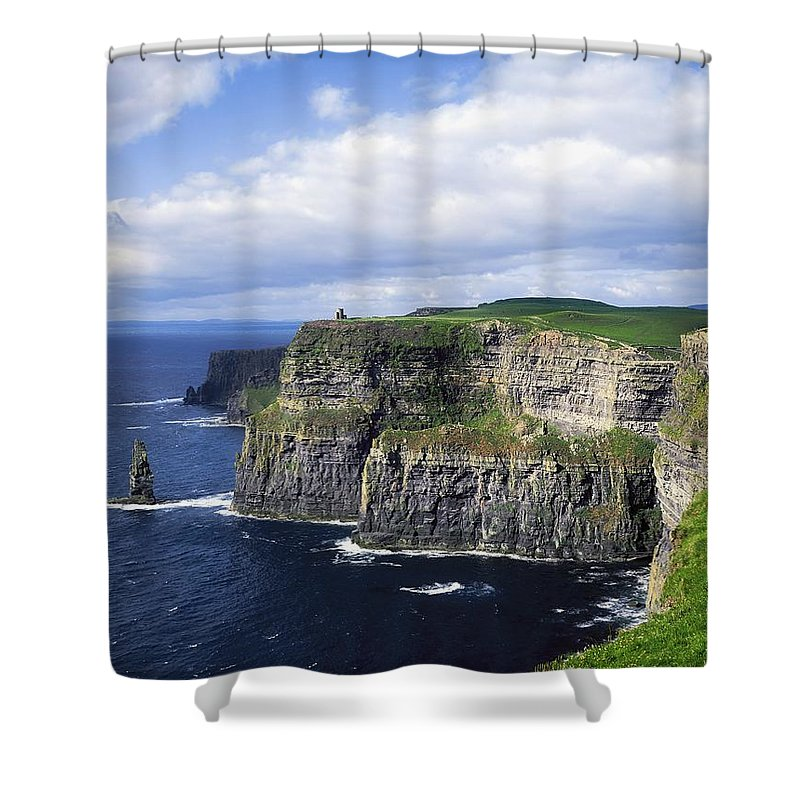 Blue Sky Shower Curtain featuring the photograph Cliffs Of Moher, Co Clare, Ireland by The Irish Image Collection
