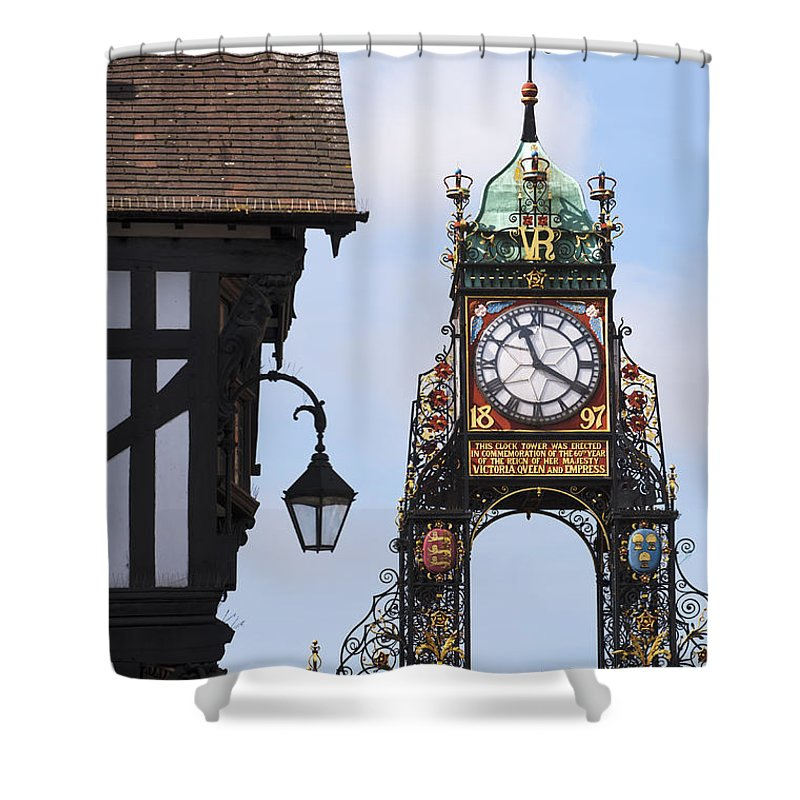 2011 Shower Curtain featuring the photograph Clock In Chester by Andrew Michael