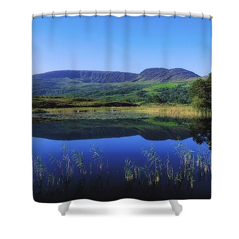 Blue Sky Shower Curtain featuring the photograph Clonee Loughs Co Kerry, Ireland Lake by The Irish Image Collection