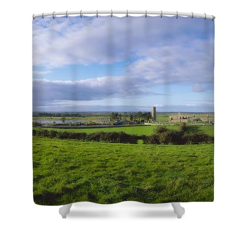 Co Offaly Shower Curtain featuring the photograph Clonmacnoise, Co Offaly, Ireland by The Irish Image Collection