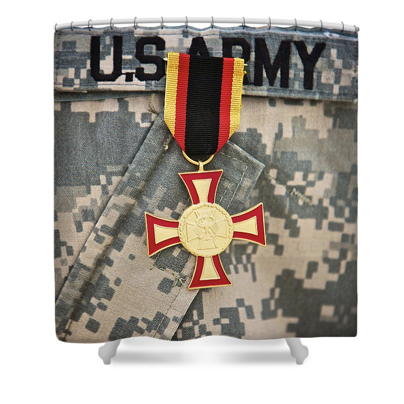 Operation Enduring Freedom Shower Curtain featuring the photograph Close-up View Of A German Gold Cross by Terry Moore