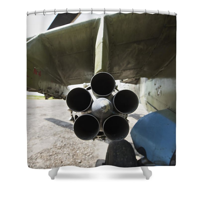 Airport Shower Curtain featuring the photograph Close-up View Of The Rocket Pod On An by Terry Moore