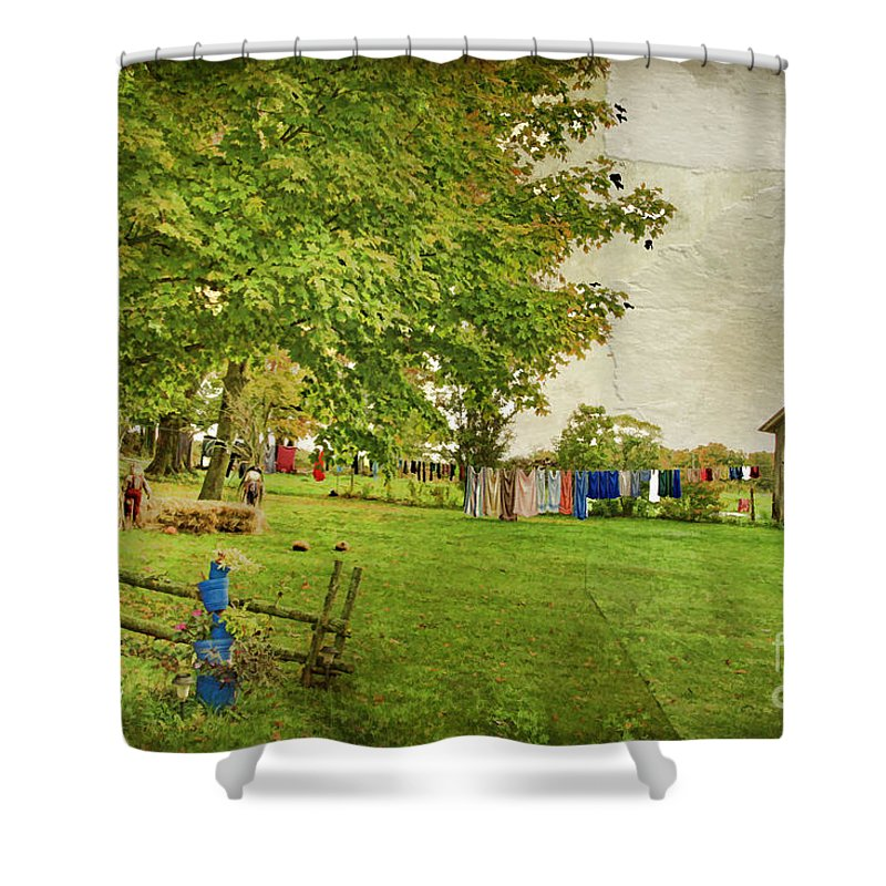 Landscape Shower Curtain featuring the photograph Clothes On The Line by Deborah Benoit