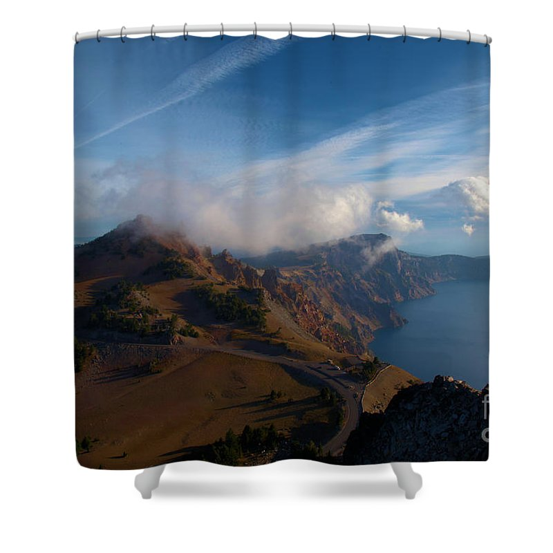 Crater Lake National Park Shower Curtain featuring the photograph Clouds On The Horizon by Adam Jewell