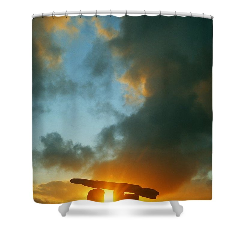 Ancient Civilization Shower Curtain featuring the photograph Clouds Over A Tomb, Poulnabrone Dolmen by The Irish Image Collection