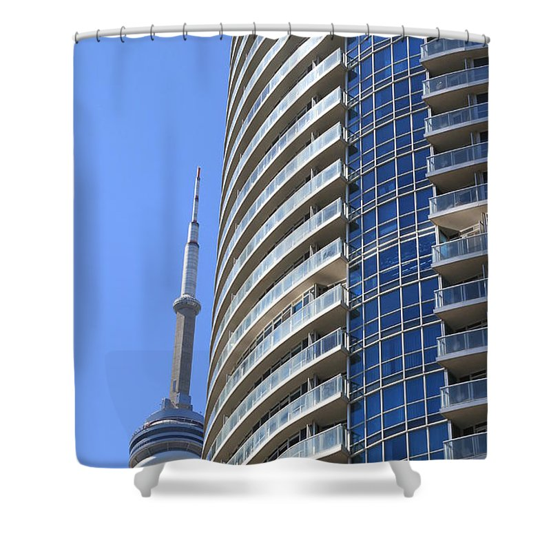 Tower Shower Curtain featuring the photograph Cn Tower by Valentino Visentini
