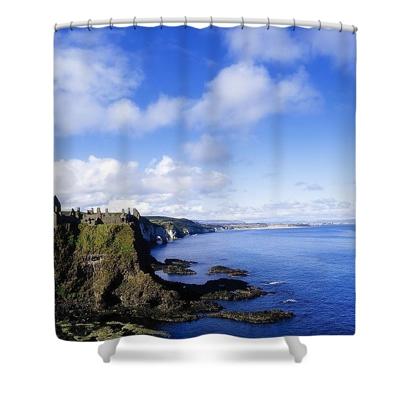 Archaeology Shower Curtain featuring the photograph Co Antrim, Dunluse Castle by The Irish Image Collection