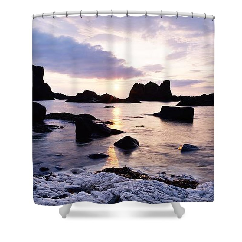 Back Lit Shower Curtain featuring the photograph Co Antrim, Whitepark Bay, Ballintoy by The Irish Image Collection