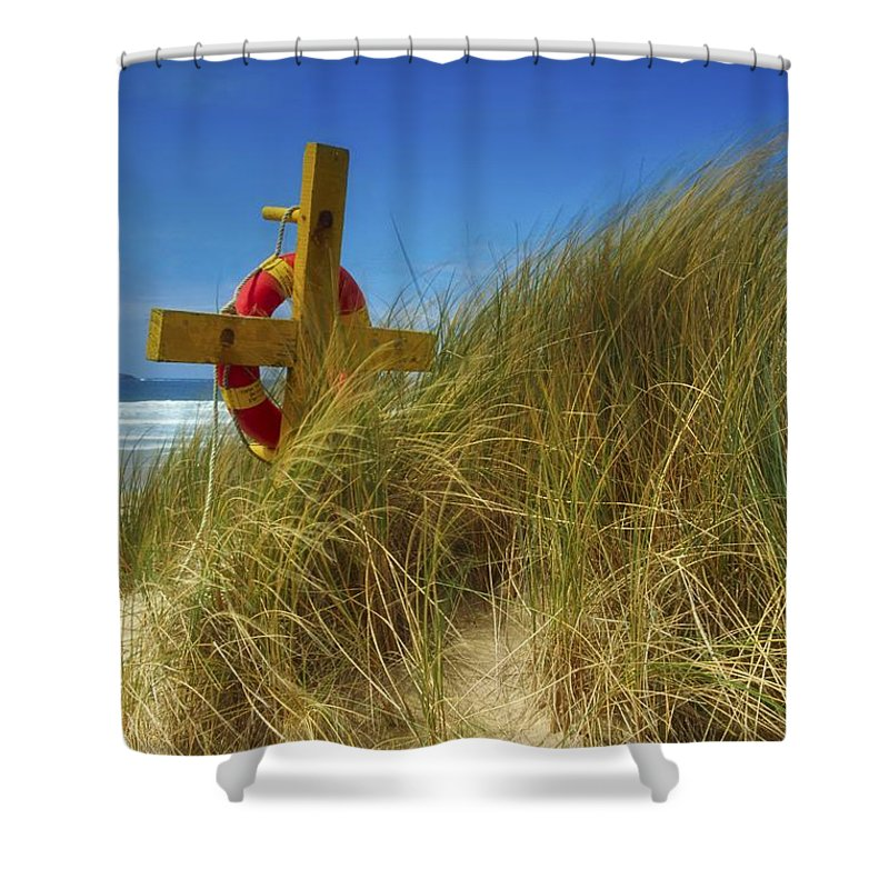 Blue Sky Shower Curtain featuring the photograph Co Down, Ireland Lifebelt by The Irish Image Collection