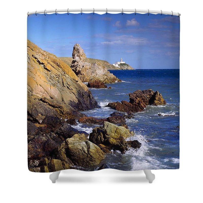 Blue Sky Shower Curtain featuring the photograph Co Dublin, The Bailey Lighthouse by The Irish Image Collection