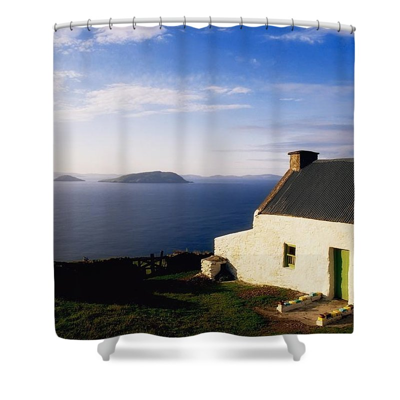 Architecture Shower Curtain featuring the photograph Co Kerry, Near Ballinskelligs, With by The Irish Image Collection