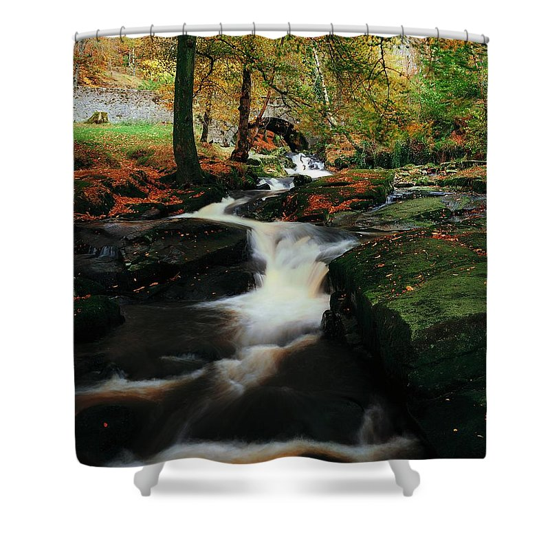 Beauty Shower Curtain featuring the photograph Co Wicklow, Ireland Waterfalll Near by The Irish Image Collection