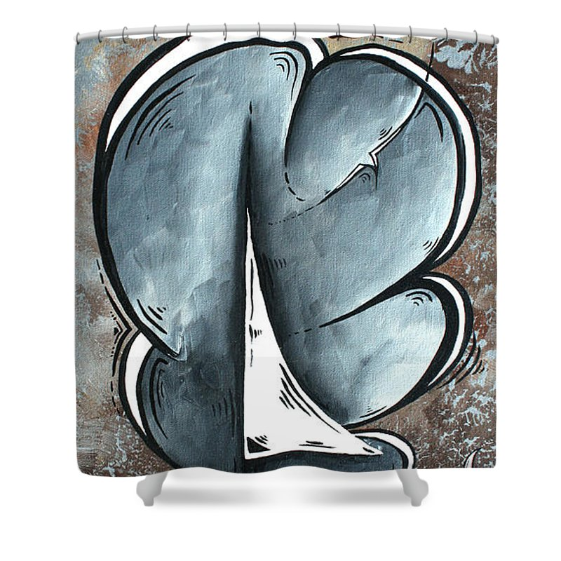 Coastal Shower Curtain featuring the painting Coastal Art Contemporary Sailboat Painting Whimsical Design Shining Sea By Madart by Megan Duncanson