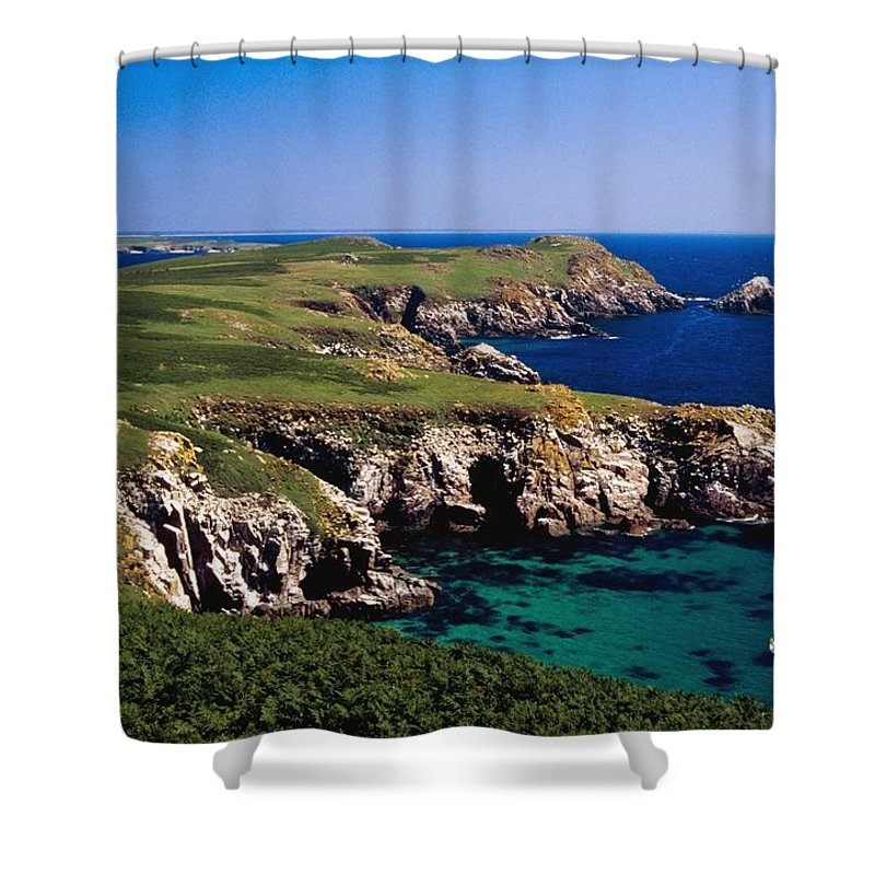 Cliff Shower Curtain featuring the photograph Coastal Cliffs And Seascape With Boat by Gareth McCormack