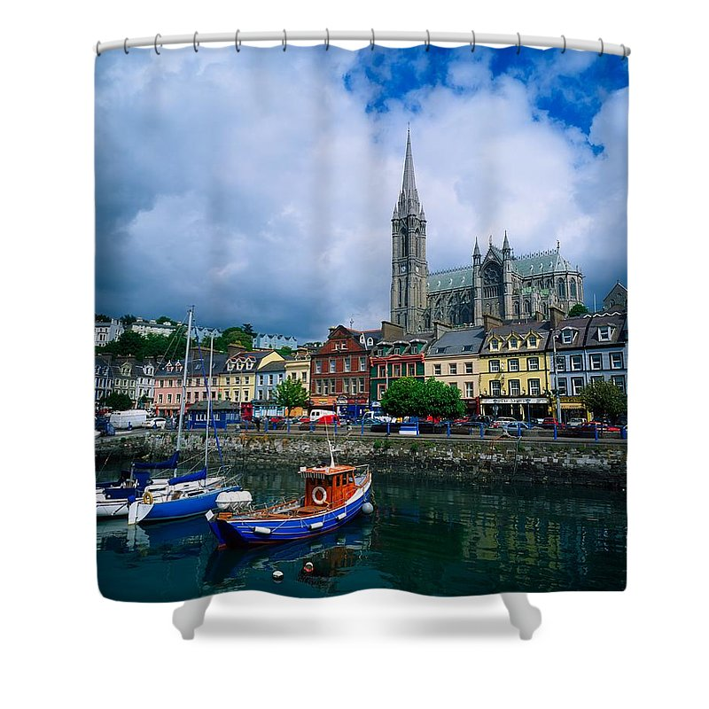 Atmosphere Shower Curtain featuring the photograph Cobh Cathedral & Harbour, Co Cork by The Irish Image Collection