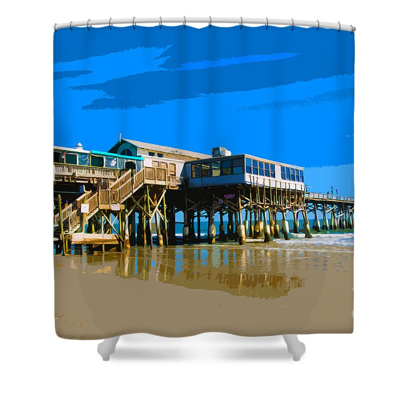 Florida Shower Curtain featuring the painting Cocoa Beach Pier by Allan Hughes