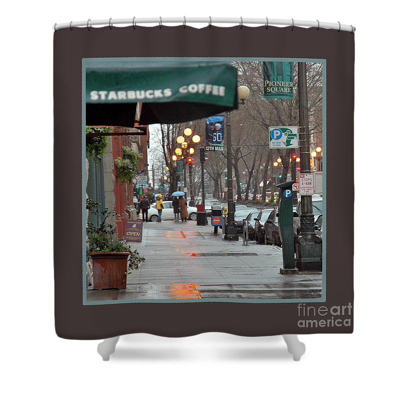 Coffee Shower Curtain featuring the photograph Coffee And Rain In Seattle by Nancy Greenland
