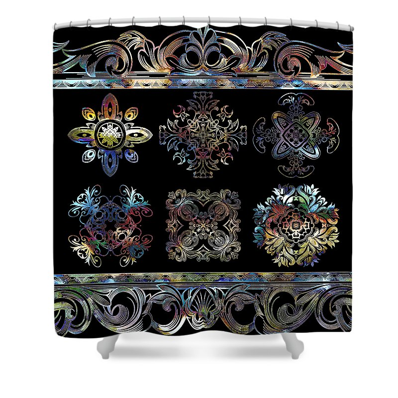 Intricate Shower Curtain featuring the digital art Coffee Flowers Ornate Medallions 6 Piece Collage Aurora Borealis by Angelina Vick