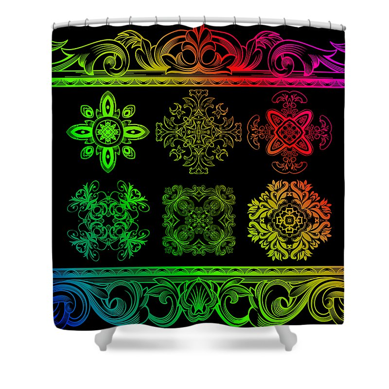 Intricate Shower Curtain featuring the digital art Coffee Flowers Ornate Medallions Color 6 Piece Callage 1 by Angelina Vick