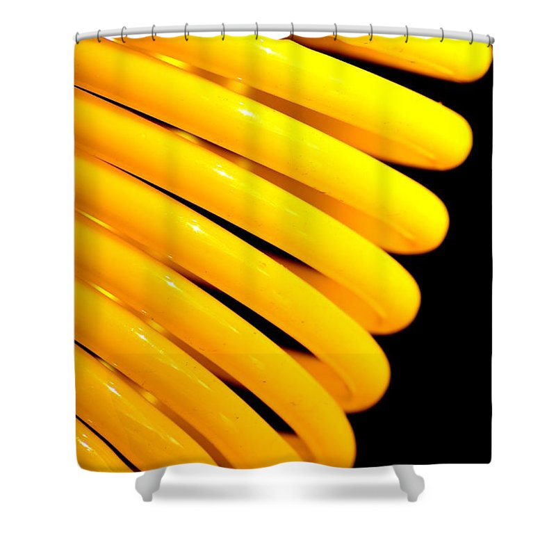 Yellow Shower Curtain featuring the photograph Coiled by Newel Hunter