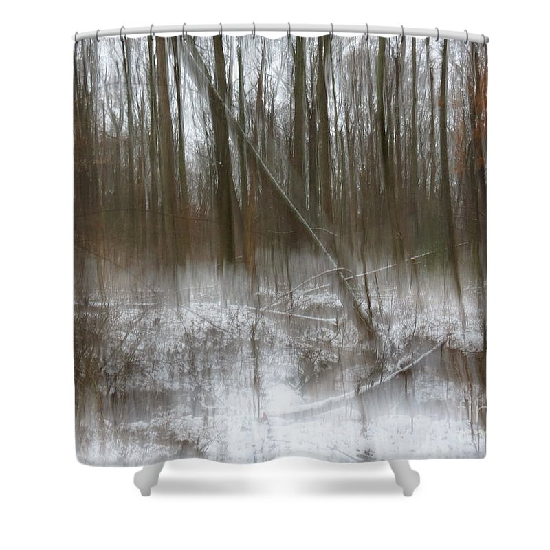 Nature Shower Curtain featuring the photograph Cold woods abstract by Rrrose Pix